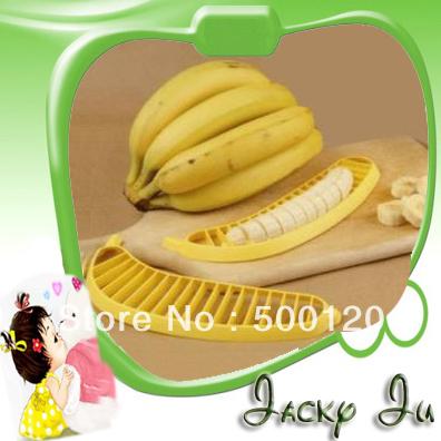 100pcs/Lot Free Shipping New Novelty Banana Cutter Plastic Banana Slicer Banana Peeler Fruit Slicer Household Goods For Kitchen