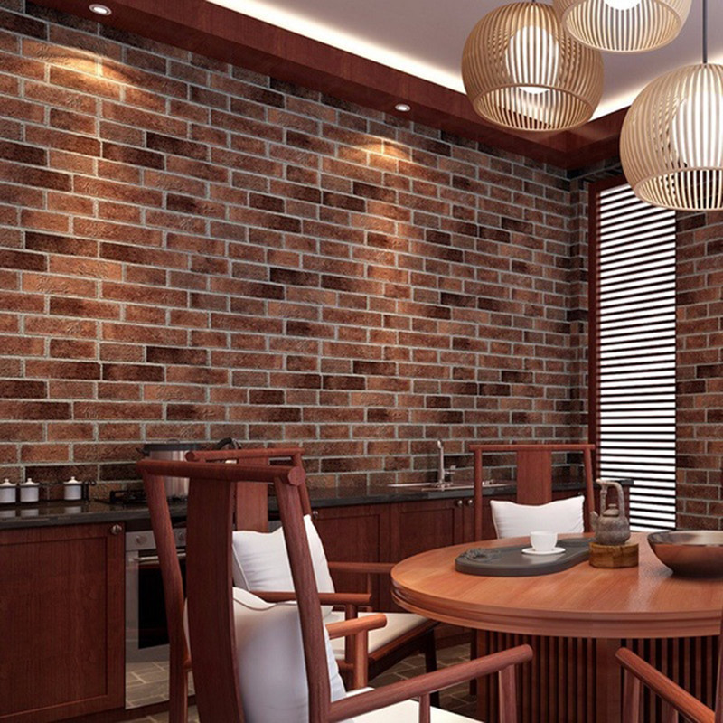Modern Coffee Shop PVC Realistic Wall Stickers Real Look Bricks Rock Wall Paper Prepasted Adhesived Home Decor Hose Decor(China (Mainland))