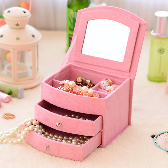 South Korea Jewelry Box with Lock Hand Double Wooden Princess Velvet Jewelry Box Big Size Gift for Friend(China (Mainland))