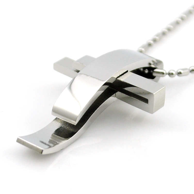 Silver Color Cross Stainless Steel Pendant Necklace Men Women Chain Murano Christian Jewelry Christmas Gifts Wholesale BP1167(China (Mainland))