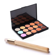 OCEA 15 Colors Camouflage Concealer Eyeshadow Palette Makeup Cosmetic Nose Brush