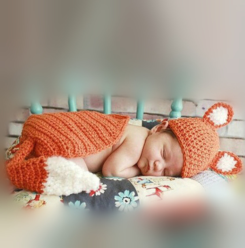 Cute Fox style Baby Hat and Cloak Handmade Crochet Newborn Photography Props Baby Hat and Cape1 Set SY113(China (Mainland))