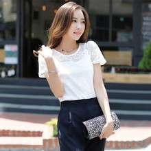 Buy Summer Women White Elegant Lace Blouse Femme Chiffon Shirts Tops Short Sleeve Blusas Feminina Hollow Blouses Plus Size for $3.72 in AliExpress store