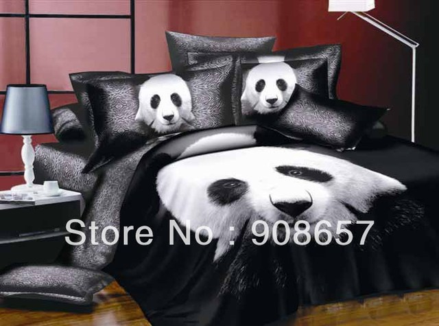 new cheaper bed sets black panda animal print discount bedding 100% cotton quilt duvet covers set 4pc for full/queen comforter