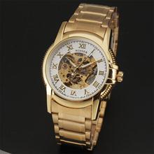 2016 Winner Luxruy Brand Men Wristwatch Skeleton Clock Male Metal Strap Casual Mechanical Automatic Watches Golden