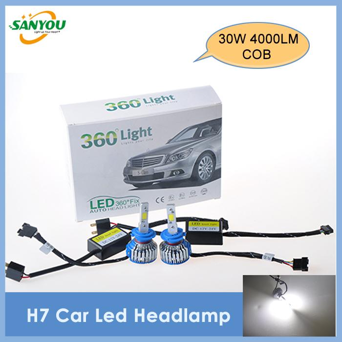 2014 New 1 Set H7 Cob LED Car Headlight Kit Fog Lamp Auto Driving 6000K for VW Honda Toyota(China (Mainland))