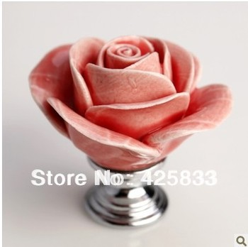 6pcs Pink Rose Flower Drawer Pulls DIY Ceramic Knobs Cabinet Door Pulls Kids Dresser Knobs and Handles Granite
