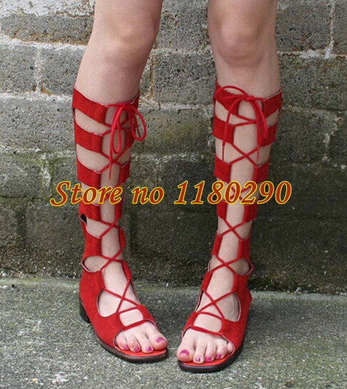 Summer New Fashion Ladies Comfortable Red Suede Leather Lace-up Flat Gladiator Boots Beautiful Shoes<br><br>Aliexpress