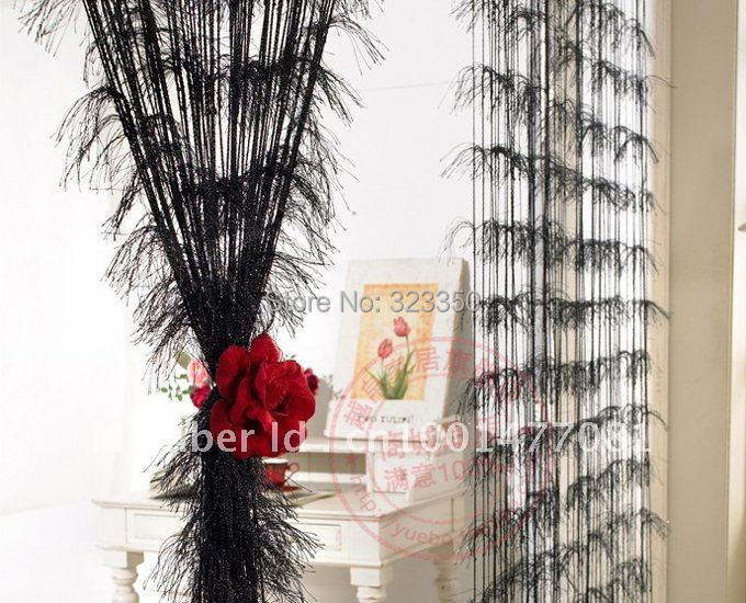 hot sale,3m*3m single color with silver feather string curtain/ polyester string curtain,room divider,10 color,free shipping(China (Mainland))