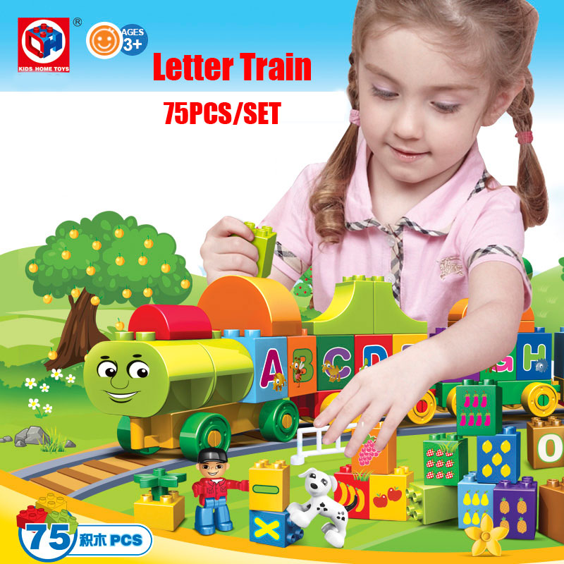 Kid's Home Toys 75PCS My First Edition Letter Alphabet Train Model Large Particle Building Blocks Kid Gift Compatible With Duplo(China (Mainland))