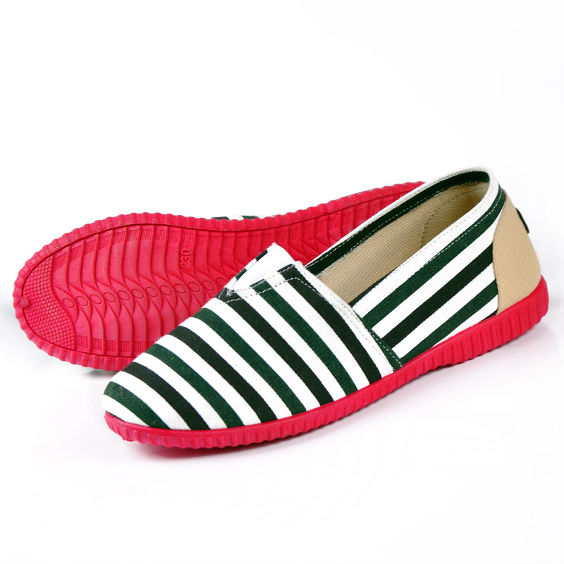 2015 Summer classic Fashion Navy Stripe Women Shoes Old Beijing Cotton Fabric Comfortable Working Loafers Summer(China (Mainland))