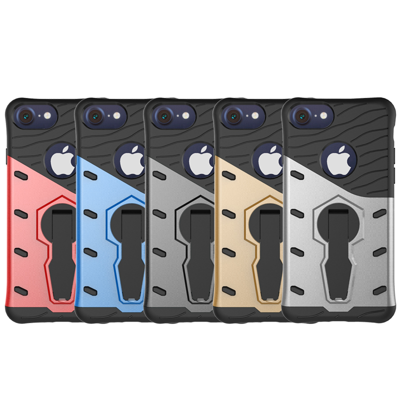 HC57 Armor Case For iPhone 7 Plus Hybrid Hard Rugged Plastic Rubber Kickstand Phone Cover Case Coque 360 Cirle Rotation Stander