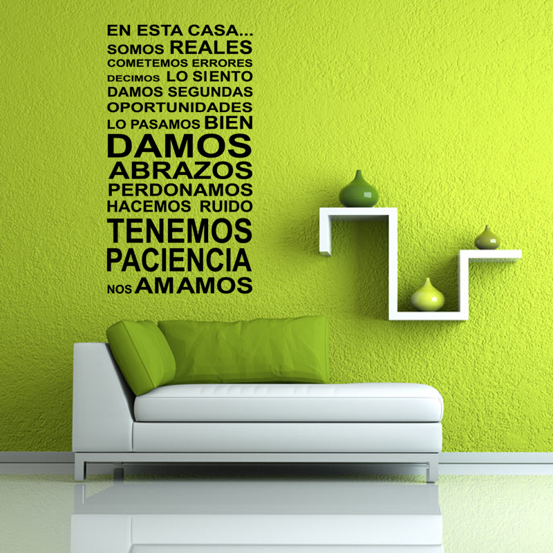 product Black Spanish En esta casa Diy Removable Wall Stickers Home Decor Art Decals Wallpaper for Living Room Bedroom Kitchen