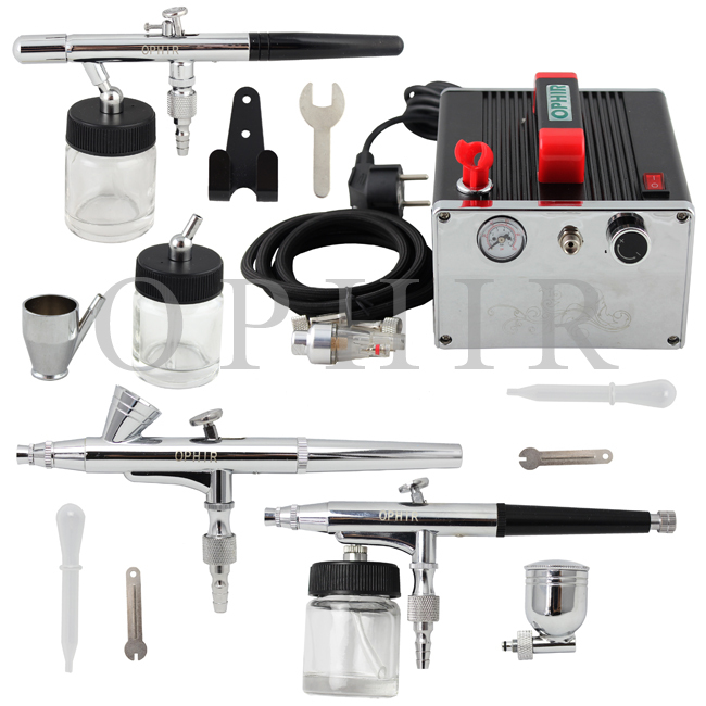 OPHIR Pro 3-Airbrush Kit With Air Compressor 0.2mm 0.3mm 0.35mm for Hobby Makeup Body Paint Cake Decorating_AC091+005+072+073(China (Mainland))