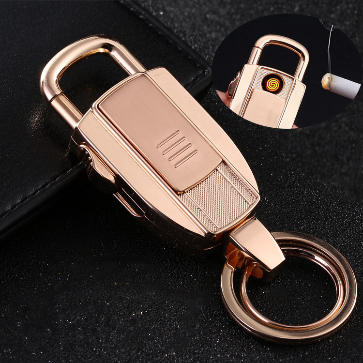 multifunctional car key cases button Tungsten lighter charge men's waist hanging key pendant rechargeable lighter creative gifts(China (Mainland))