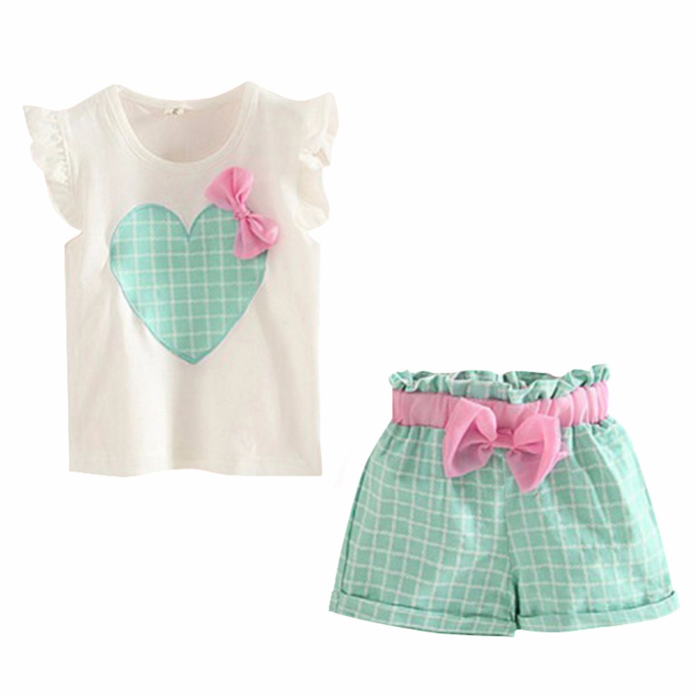 Cute Sleeveless Heart Bow Tops+Short Pants Cotton Green/Pink Set For Kids Girls(China (Mainland))