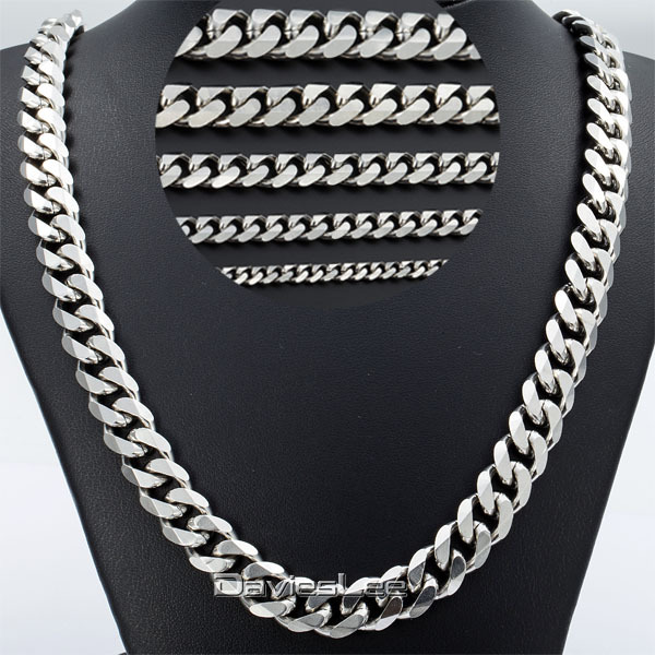 3 5 7 9 11mm Mens Curb Chain Silver Tone Promotion Stainless Steel Necklace Chain High