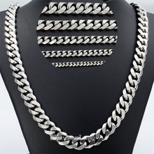 Personalized Mens 3/5/7/9/11mm Curb Cuban Silver Tone Stainless Steel Necklace Chain  Gift Promotion Wholesale Jewelry KNM07