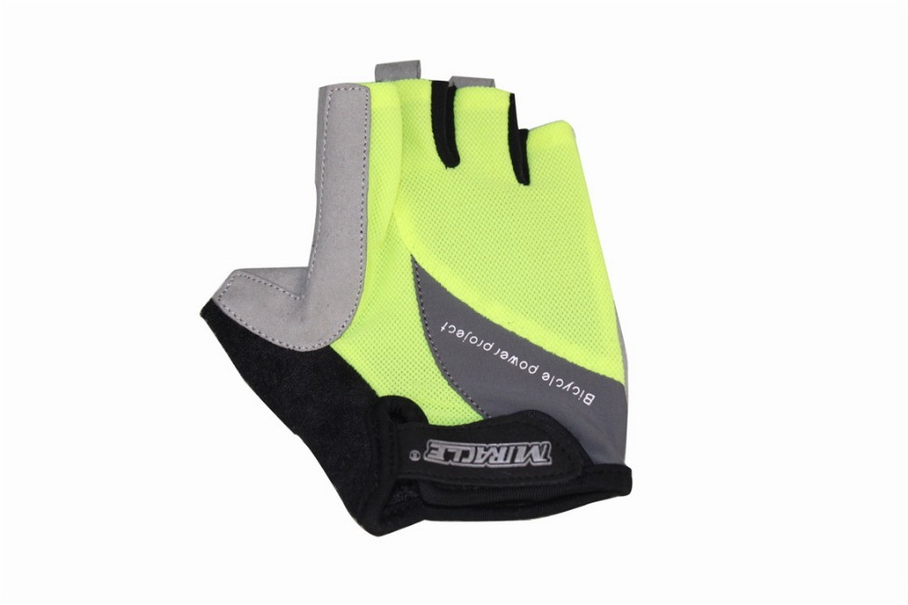 Free Shipping MIRACLE New Cycle Mountain Bike Bicycle MTB Half Finger Spring Men Cycling Gloves Yellow Color(China (Mainland))