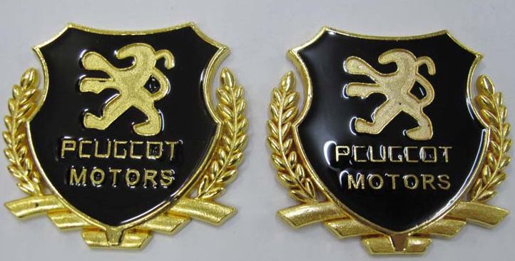 2pcs/pair Gold or Silver car badge emblem car side sticker labeling Auto Car Decorative Accessories for 408 508 car whole body(China (Mainland))
