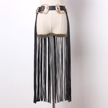 Buy New fashion Metal double buckle women leather tassel belts Fringe Black Faux pu Leather Lady Belt High Waist tide female Long for $24.87 in AliExpress store