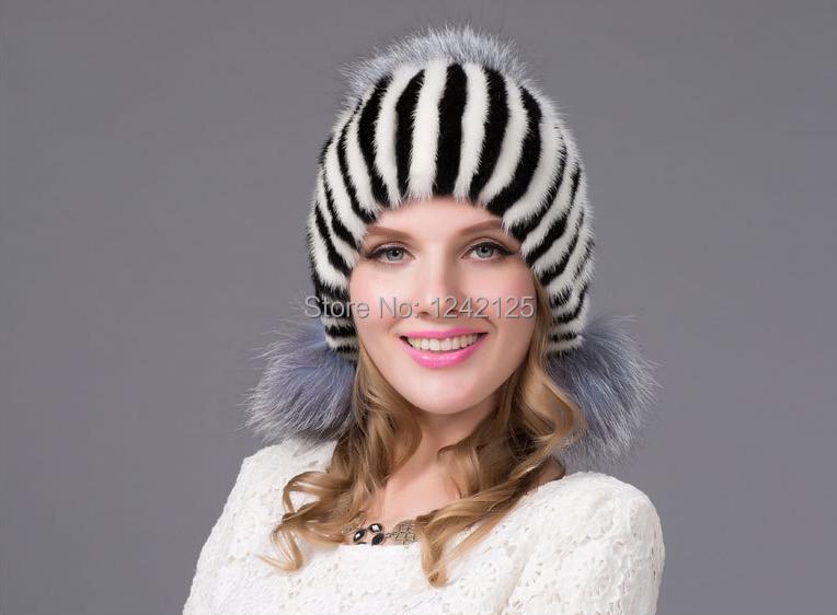 Скидки на Новый осень зима Родитель-ребенок девушки женщин реального норки меховая шапка роскошный теплый подлинная кожа мех лисы мяч Плетение, вязание hat cap