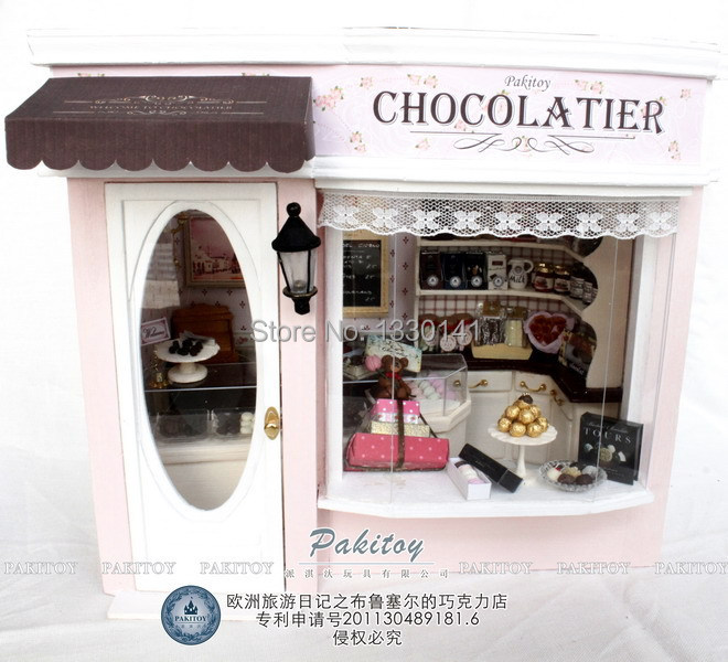TOYS FOR KIDS GIFTS FOR LOVERS FRIENDS DIY MINI WOODEN FANTASTIC EUROPEAN SHOP CHOCOLATE SHOP(China (Mainland))