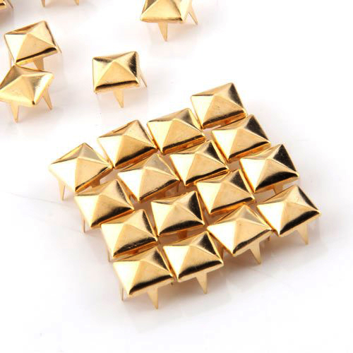 Promotion! 100x Gold 8mm Pyramid Studs Spots Punk Nailheads Spikes for Bag Shoes Bracelet(China (Mainland))