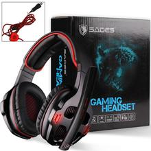 SADES 903 Surround Sound Pro USB PC Stereo Noise-Canceling Gaming Headset with High Sensitivity Mic Volume-Control LED(China (Mainland))