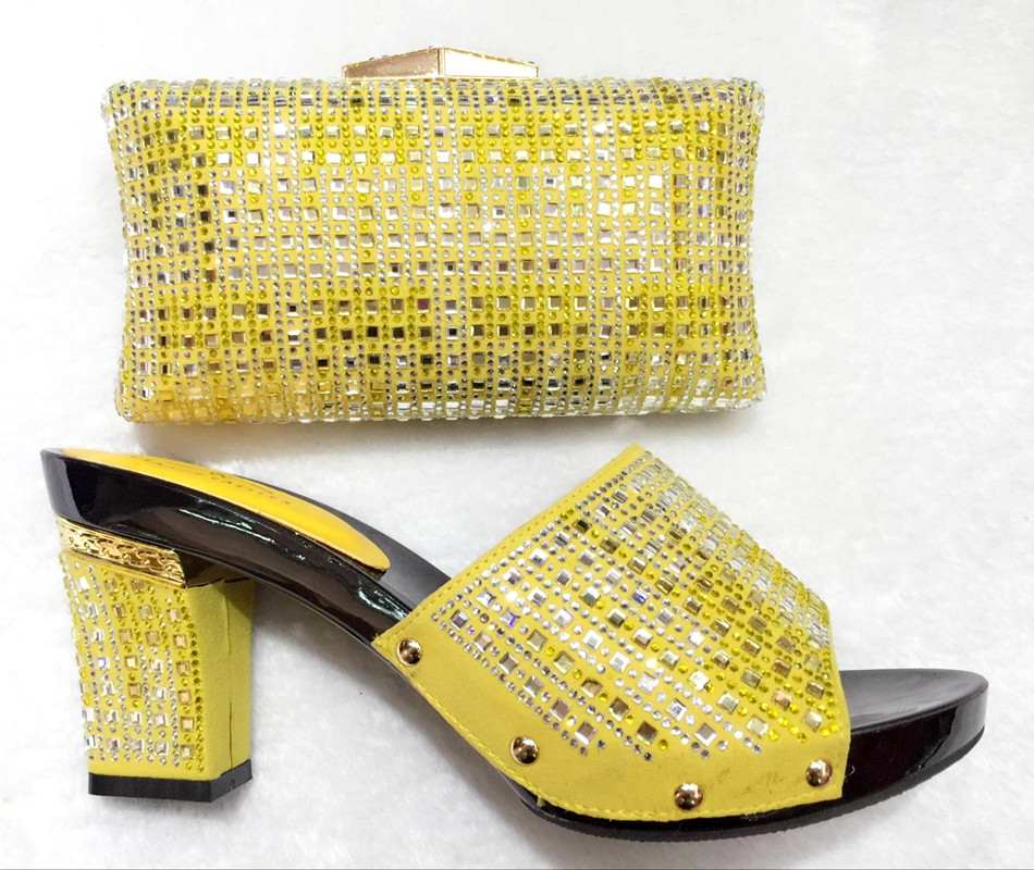 Yellow Crystal Wedding Shoes And Bag Set To Matched Fashion African Italian Shoes And Bag Sets For Prom Sandal Size 37-43(China (Mainland))