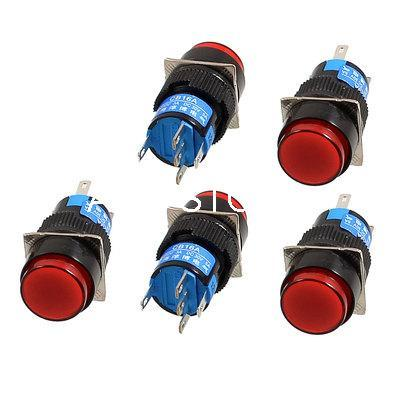 Round Red LED Light 5-Terminals Pins SPDT Latching Maintained Self-Locked 1NO 1NC Push Button Switch Lamp 12V 16mm Mounting Hole