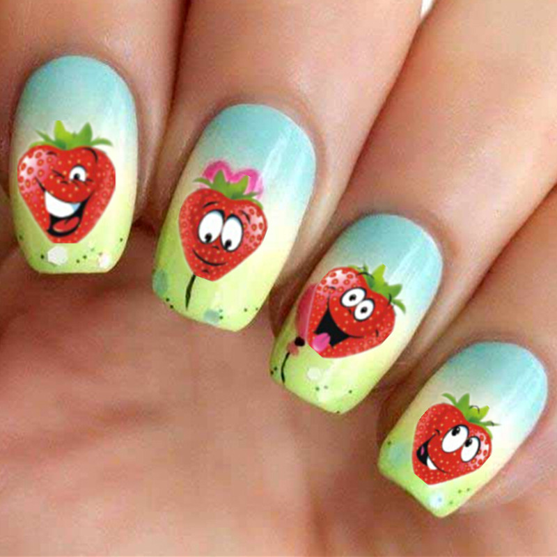 Homemade Nail Art Decals : Nail art stickers funny strawberry design diy beauty decorations nails