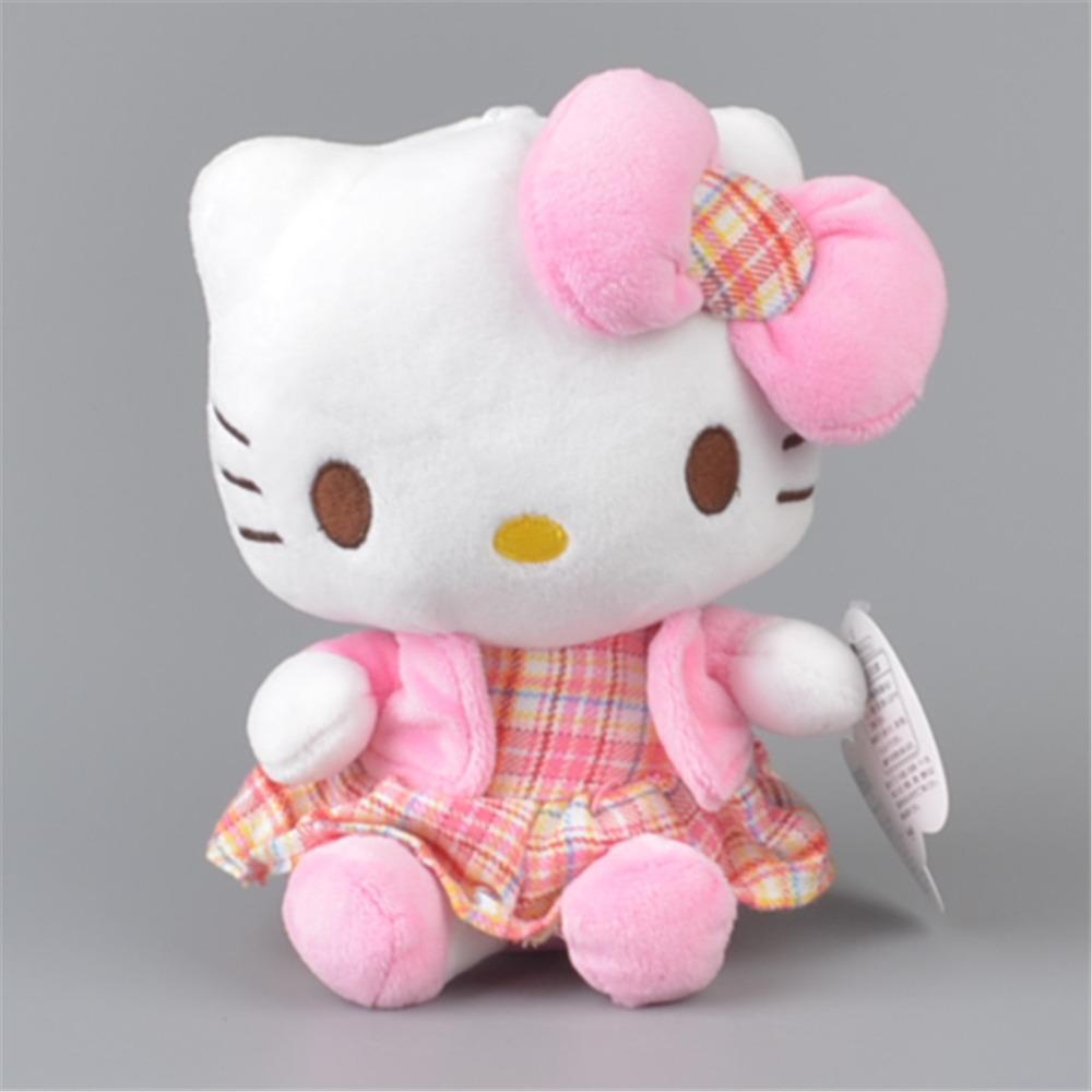 Plaid Skirt Hello Kitty Stuffed Plush Toy, Baby Kids KT Doll Gift Free Shipping(China (Mainland))