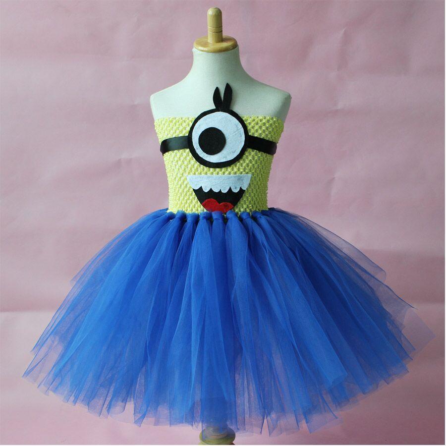 Minion Tutu Dress Costume Birthday girl dress Halloween Despicable tutu girl dress(China (Mainland))