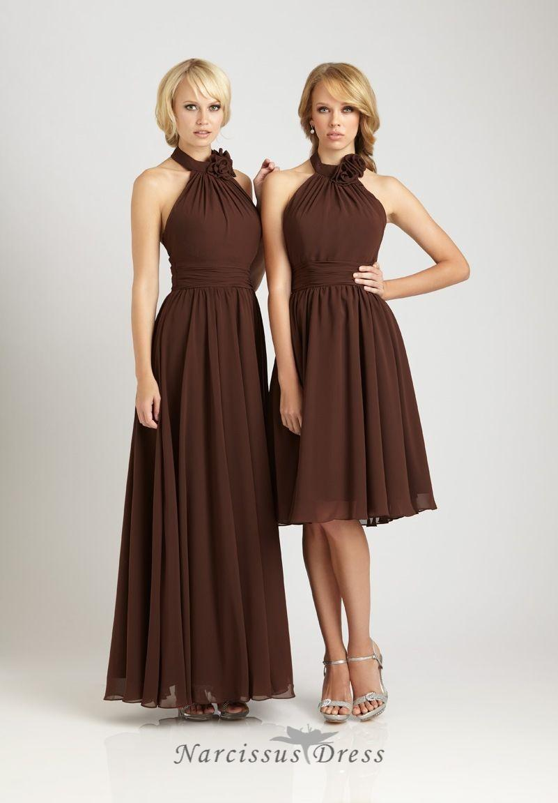 Long or short brown chiffon bride 39 s sister dress halter for Brown dresses for wedding