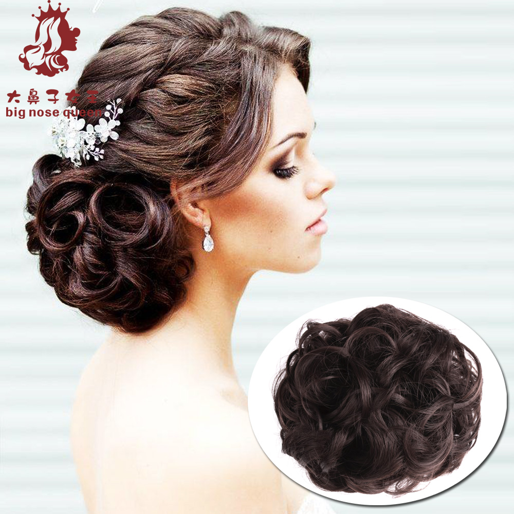 Women Curly Chignon Clip in Elastic Fake Hair Bun Updo Hairpiece Extension Accessories Synthetic Natural Hair Style Black Brown(China (Mainland))
