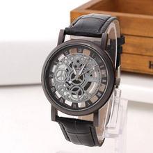 Luxry marque creux gravure montre-bracelet pour hommes squelette montre mâle Saat femmes Quartz montre d'affaires de mode en cuir bande horloge(China)