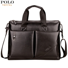 VICUNA POLO 2016 New Arrival Large Casual Soft Big Leather Business Men Briefcase Bag Famous Brand Men's Leather Handbag bolsas(China (Mainland))