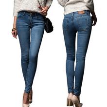 Узкие джинсы женщина 2016 новых весна мода типа парня омывается эластичный джинсовые брюки карандаш тонкий капри брюки роковой