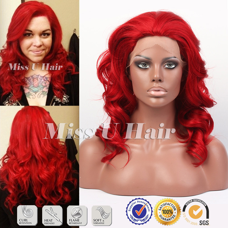 Fire Truck Red wig medium length haircuts curly dark red wig synthetic hair red lace front wig<br><br>Aliexpress