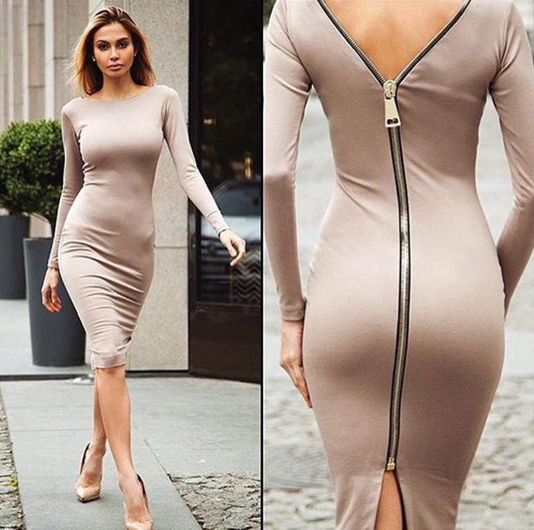Sexy Bodycon Women Bandage Dresses Long Sleeve Back Zipper Pencil Dresses Big Sizes Ladies Slim Elegant Office Dress OL Women