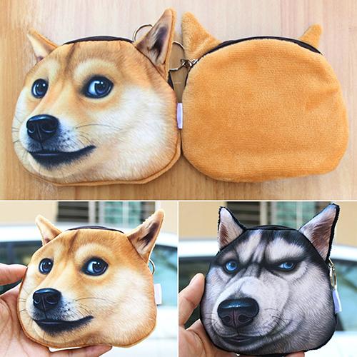 Funny 3D Dog Face Coin Purse Vivid Husky Zipper Case Bag Card Keys Pouch Gift <br><br>Aliexpress