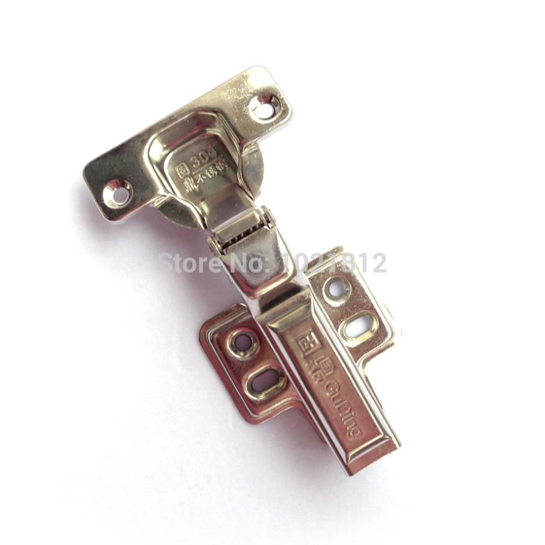 1 Pair Half overlay Hydraulic Cabinet Hinge 304Stainless Steel Hinge Soft Close Brass Buffering Clip-on Base(China (Mainland))