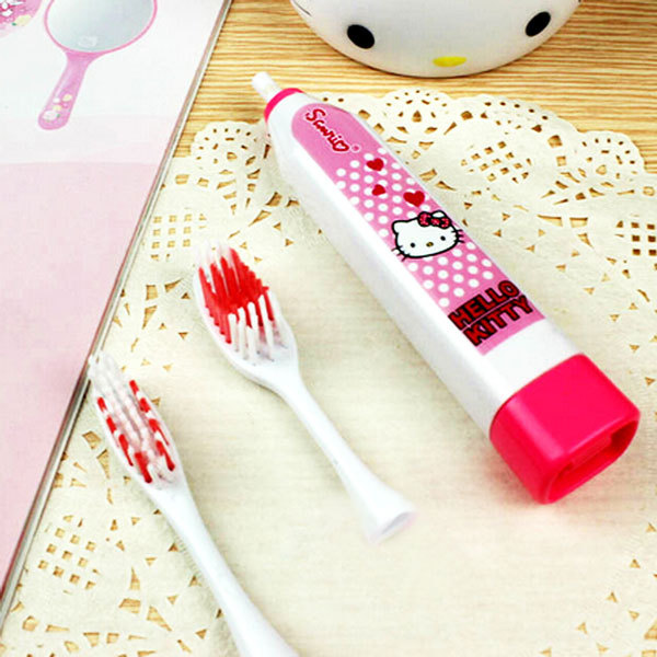 1 Set NEW Hello Kitty Ultrasonic Electric massage Vibrate Toothbrush with 2 replacement Tooth Brush Head Oral Care Tool(China (Mainland))