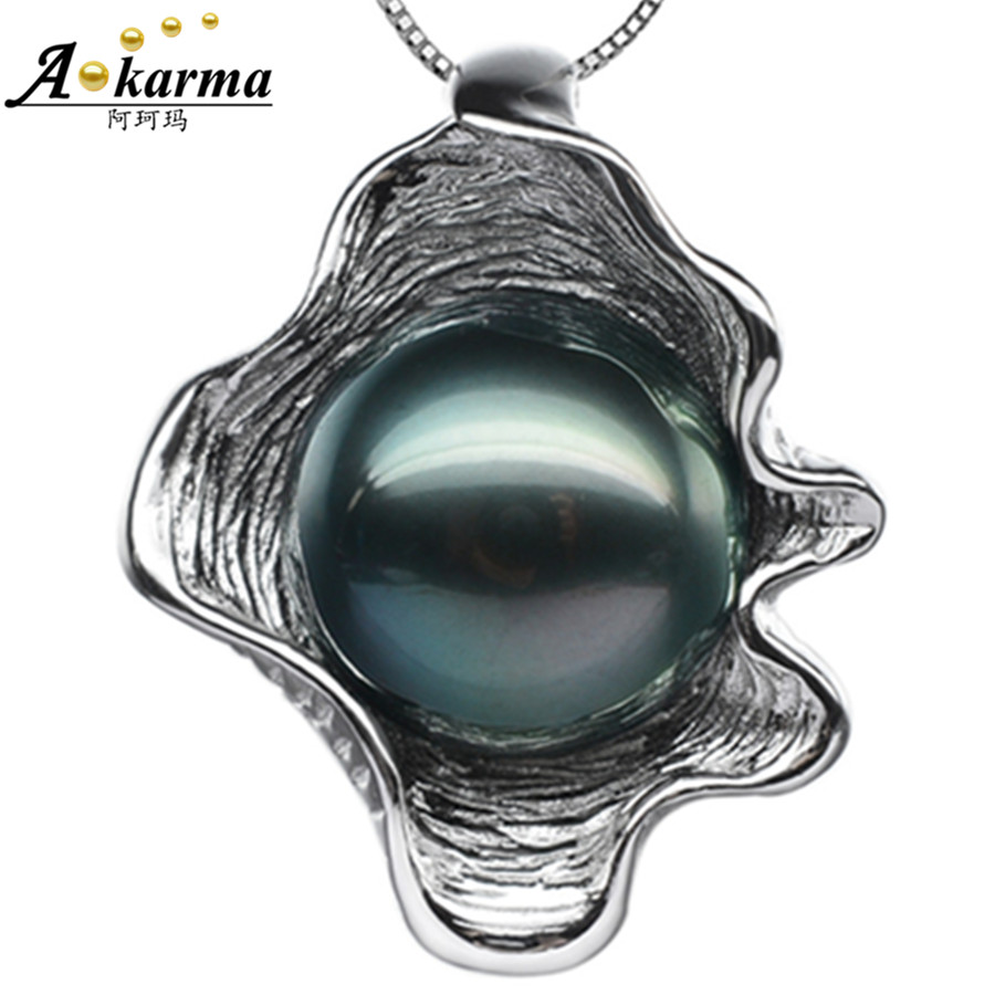 Akarma Necklace Women Tahitian Black Shell Black Pearl 925 Sterling Silver Jewelry Lotus Leaf Necklaces & Pendants Collare Mujer(China (Mainland))
