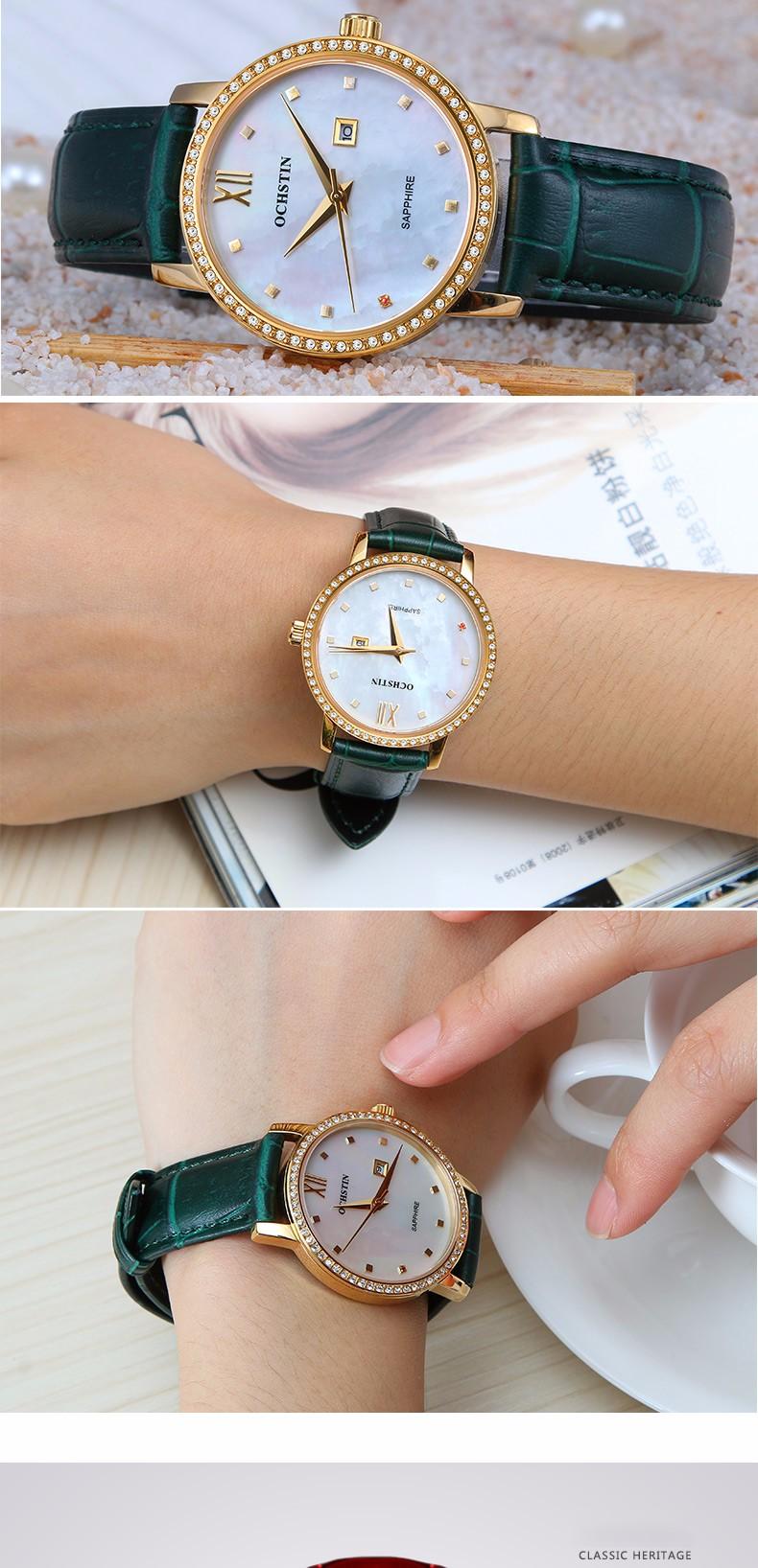 Классический Моды Случайные Платье Часы Женщины Элегантный Кварц Алмаз Наручные Часы Дамы Наручные часы Груша Циферблат Кожаный Ремешок