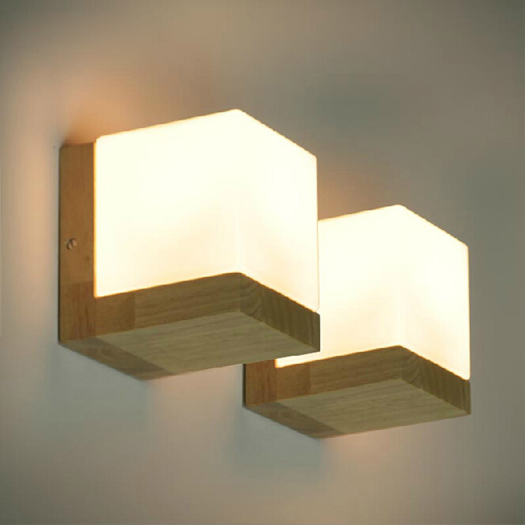 oak cubes wall lamp living room dining modern minimalist