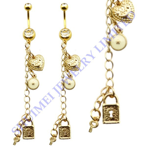 Gold Key Belly Button Ring