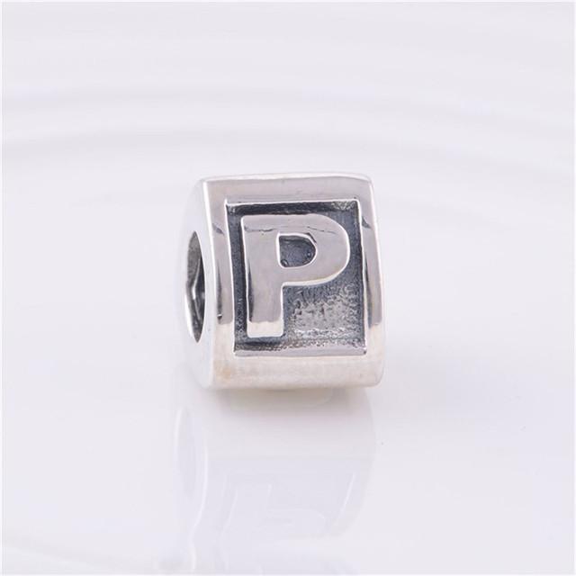 Fit подвески пандора браслет 925-Sterling-Silver ювелирные изделия письмо P бусины треугольной формы европейские женщины DIY мода ювелирных изделий