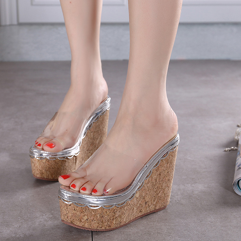 2016 Women Fashion Transparent Lace Mixed Colors Imitation Wood Grain 13CM Ultrahigh Heel Wedges Thick Bottom Slippers R527-3(China (Mainland))